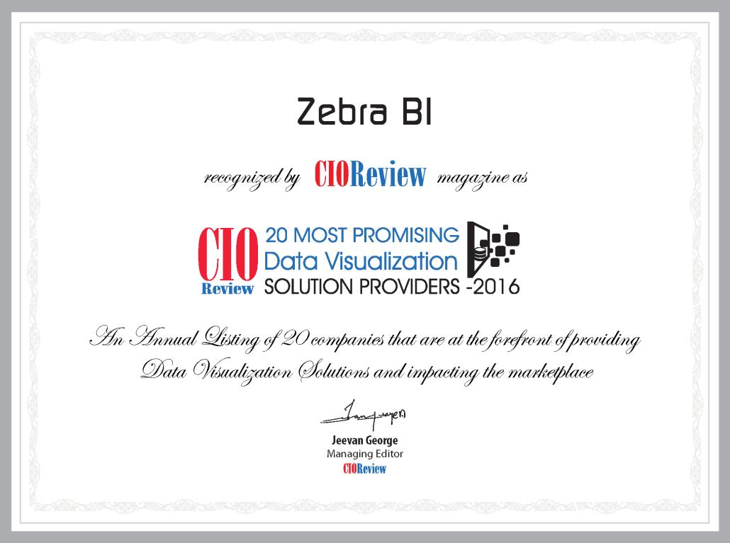 CIOReview Zebra BI Certificate