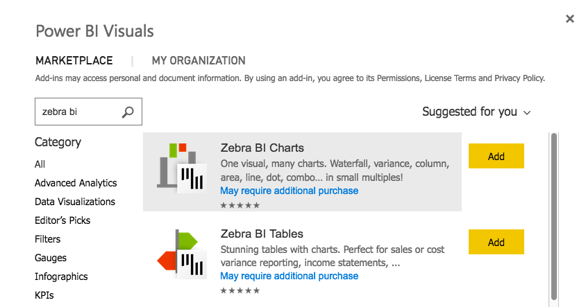 Power BI marketplace add-in Zebra BI visuals