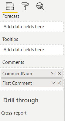 The new Comments placeholder in Zebra BI