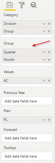 Adding Quarter and Month measures to the Group placeholder