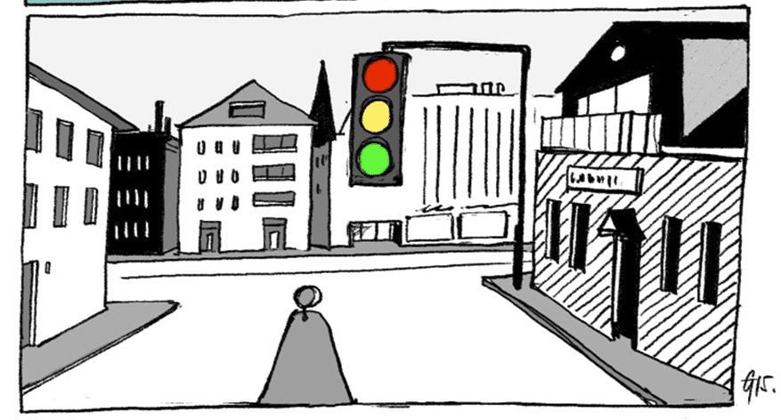 traffic light on a cartoon street